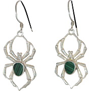 Sterling Silver Malachite Spider Earrings