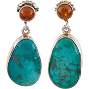 Beautiful Sterling Silver Turquoise & Amber Drop Earrings