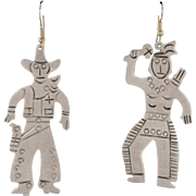 "Sterling Silver ""Root'n-Toot'n"" Cowboy & Indian Earrings"