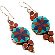 Beautiful Turquoise, Lapis, and Coral Earrings in Sterling Silver