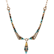 Signed Sterling Silver Navajo Inlaid Bib Snake Necklace