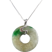 Chinese Moss in Snow Jade Bi Pendant Necklace 18""