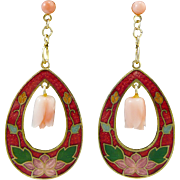 SALE Cloisonne Enamel and Angel Skin Coral Dangle Earrings