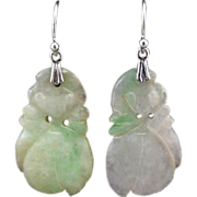 SOLD Carved Jade Pendant and Sterling Silver Earrings
