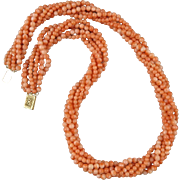 """14K 6 Strand Chinese Salmon Coral Torsade Necklace 21"""""""
