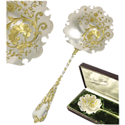 SOLD GABERT : Exceptional Antique French Silver & Vermeil Strawberry / Fruit Server, Original