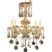 Crystal Orb Venetian Chandelier with Four Arms