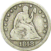 SOLD 1848 Seated Liberty Silver Quarter