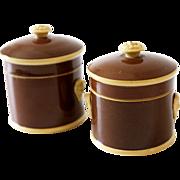 Antique Pair of French Sarreguemines Storage Pots Jars