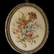 Antique Georgian Floral Silk Needlework Crewelwork Picture