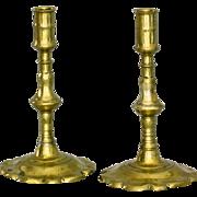 Pair of 18thC Brass Queen Anne Petal Base Candle Sticks