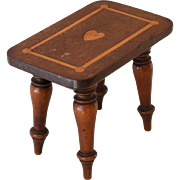 19thC child's or Miniature Stool with Heart Motif