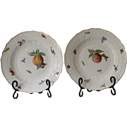 Antique Pair of Meissen Fruit Plates