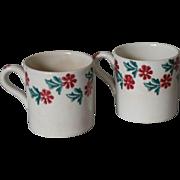 Pair of Spongeware Stick Spatter Children's Mugs