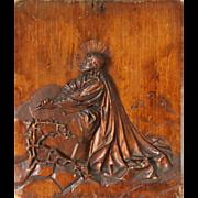 Antique Religious Folk Carving of Jesus Christ