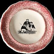 Antique Spatterware Children's Child's Plate