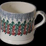 Antique Stick Spatter Spongeware Mug