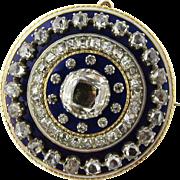 SALE Antique 14K Yellow Gold Georgian Rose Cut Diamonds and Blue Enamel Brooch Pendant Circula