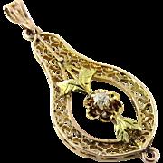 SALE Vintage 14K Yellow Gold Diamond Filagree Pendant