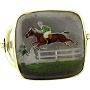 SALE 14K Yellow Gold Intaglio Racing Horse Stirrups Ring Size 3.5