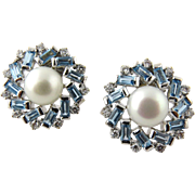 SALE Vintage 18K White Gold Pearl Aquamarine and Diamond Round Snowflake Earrings Pierced