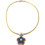 SALE Vintage 8K Yellow and White Gold Diamond Necklace Choker with Sapphire Beaded Flower ...