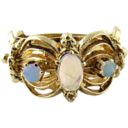SALE Vintage 14K Yellow Gold Opal Ring Size 6.5