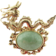 SALE Sanuk 14K Yellow Gold and Jade Dragon Pin Brooch