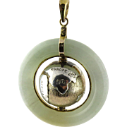 SALE Vintage Jade and 14K Yellow Gold Rotating Planet Earth Pendant