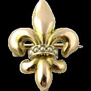 SALE Vintage 14K Yellow Gold Fleur De Leis and Pearl Pin Pendant