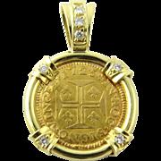 Portuguese 400 Reis Coin 1725 Diamond 18K Yellow Gold Pendant