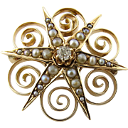 SALE Vintage 10K Yellow Gold Seed Pearl and Diamond Starburst Brooch Pin Pendant