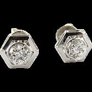 SALE Antique 14K White Gold Hexagonal Old Mine Diamond Studs .45 cts circa 1920's