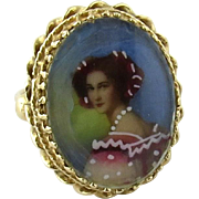SALE Antique 14K Yellow Gold Lady Portrait Ring Size 4.5