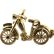 SALE Vintage 9K Yellow Gold 3D Bicycle Charm with Much Detail and Moving Wheels