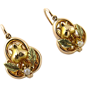 SALE Antique 10K Yellow Gold Back to Front Pearl Seed Earrings with Tulip Flower