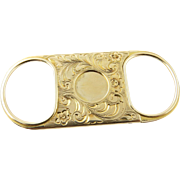 SALE Antique 14K Yellow Gold Hand Engraved Cigar Cutter with Ornate Hand Engraving 1902