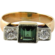 SALE Antique 14K Yellow Gold Green Tourmaline and Old Mine Diamond Ring Size 7.75
