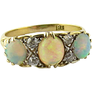 SALE Antique 18K Yellow Gold Opal and Old Mine Diamond Ring Size 5 3/4 ...