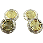 SALE Art Deco 14K White and Gold Two Toned Engine Turned Cufflinks