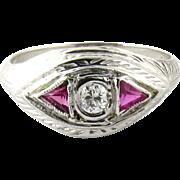 SALE Antique 18K White Gold Diamond Ruby Ring Size 5.75