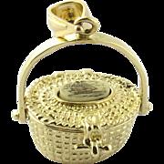 SALE Vintage 14K Yellow Gold Movable Nantucket Basket Pendant with Scrimshaw Top