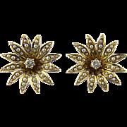 SALE Antique Victorian 14K Gold Seed Pearl Flower Blossom Diamond Earrings