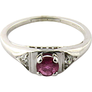 SALE 18 Karat White Gold Genuine Ruby Diamond Ring Size 5.5