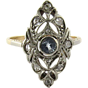 SALE Antique Art Deco 14K Pierced Marquise White and Yellow Gold Diamond and Aquamarine Ring .
