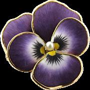SALE Art Nouveau 14K Yellow Gold Enamel Pansy Pin Pendant Brooch