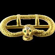 SALE Antique Victorian 14K Yellow Gold Diamond and Emerald Snake Belt Sash Buckle