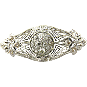 SALE Antique Edwardian Era Platinum and 14K White Gold Diamond Brooch Pin, 3.25 CT TWT