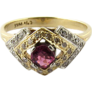 SALE Antique Art Deco Two Tone 14K White and Yellow Gold Ruby Diamond Ring, Size 6