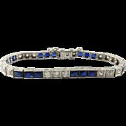SALE Antique Art Deco Platinum Diamond and Sapphire Bracelet, Size 6